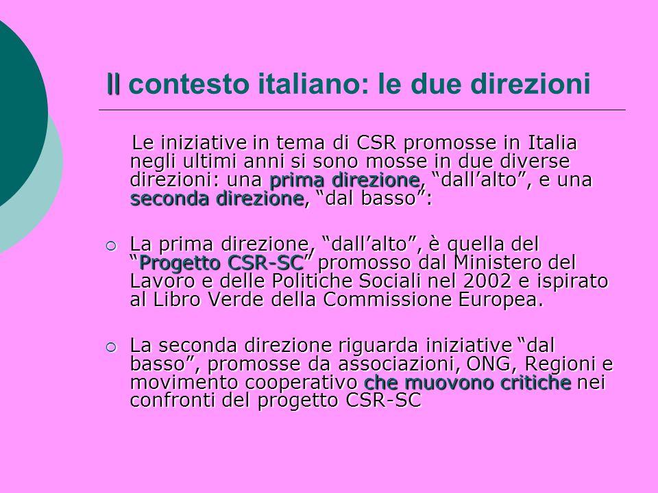 Il Il contesto italiano: le due direzioni Le iniziative in tema di CSR promosse in Italia negli ultimi anni si sono mosse in due diverse direzioni: un