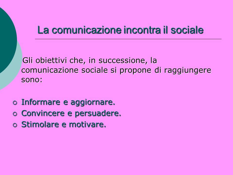 La comunicazione incontra il sociale Gli obiettivi che, in successione, la comunicazione sociale si propone di raggiungere sono: Gli obiettivi che, in