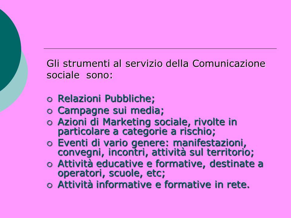 Gli strumenti al servizio della Comunicazione sociale sono: Relazioni Pubbliche; Relazioni Pubbliche; Campagne sui media; Campagne sui media; Azioni d