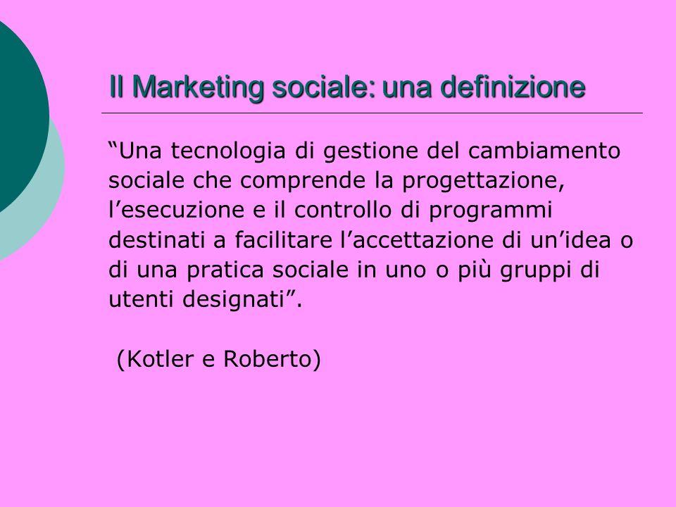 Il Marketing sociale: una definizione Una tecnologia di gestione del cambiamento sociale che comprende la progettazione, lesecuzione e il controllo di
