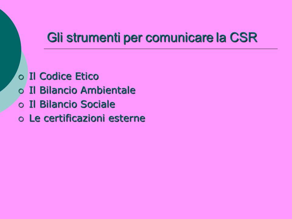 Gli strumenti per comunicare la CSR Il Codice Etico Il Codice Etico Il Bilancio Ambientale Il Bilancio Ambientale Il Bilancio Sociale Il Bilancio Soci