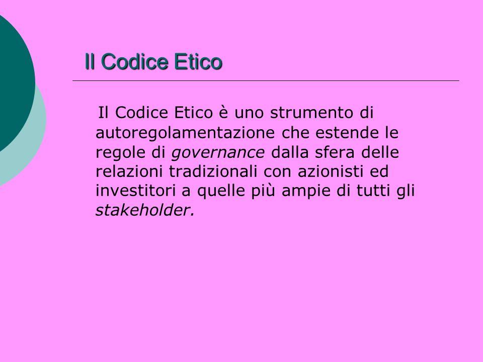 Il Codice Etico Il Codice Etico Il Codice Etico è uno strumento di autoregolamentazione che estende le regole di governance dalla sfera delle relazion