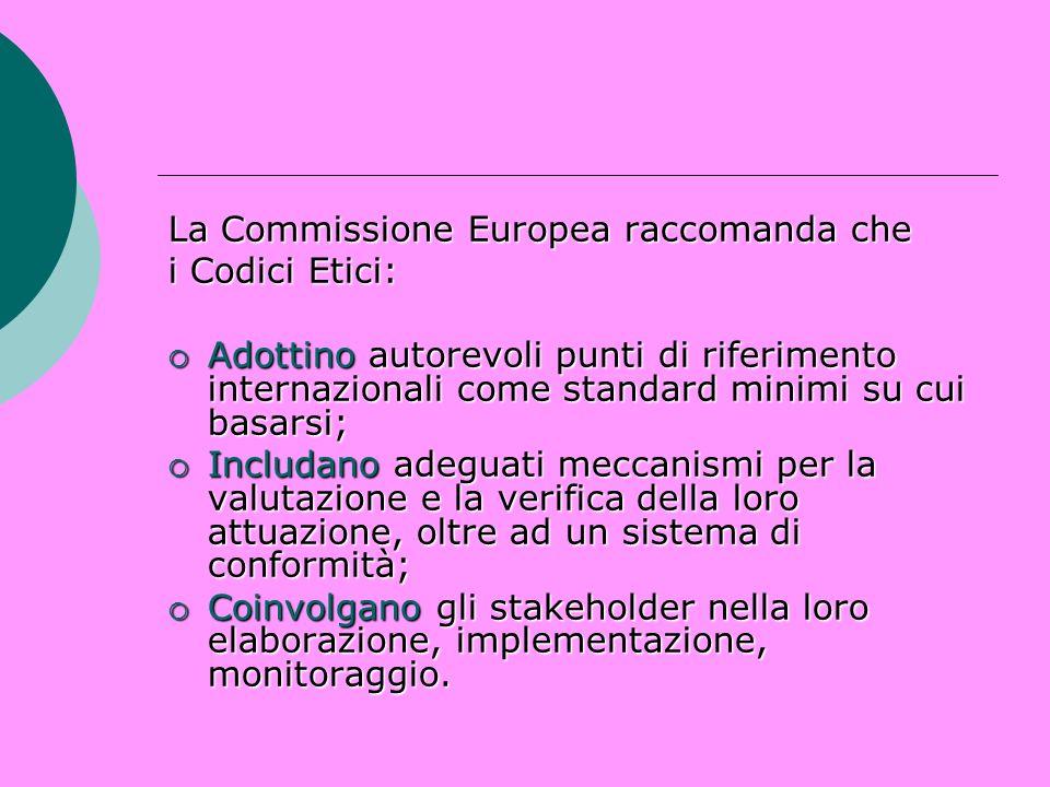La Commissione Europea raccomanda che i Codici Etici: Adottino autorevoli punti di riferimento internazionali come standard minimi su cui basarsi; Ado
