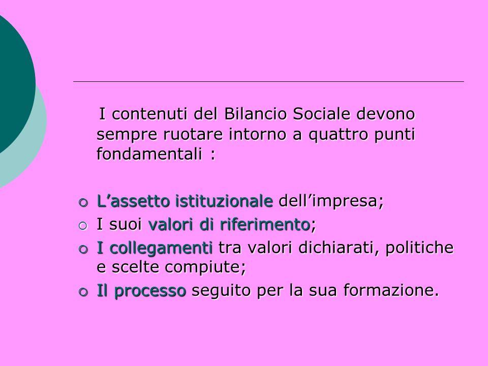 I contenuti del Bilancio Sociale devono sempre ruotare intorno a quattro punti fondamentali : I contenuti del Bilancio Sociale devono sempre ruotare i