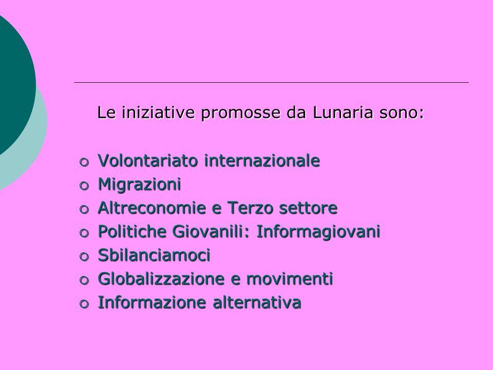Le iniziative promosse da Lunaria sono: Le iniziative promosse da Lunaria sono: Volontariato internazionale Volontariato internazionale Migrazioni Mig