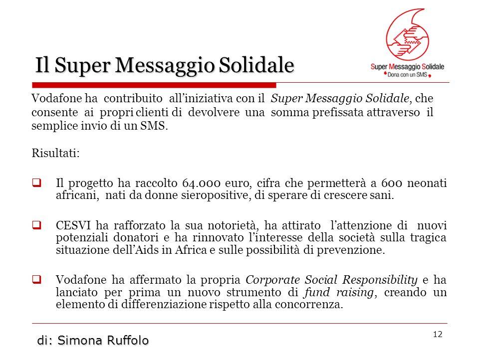 12 Il Super Messaggio Solidale Vodafone ha contribuito alliniziativa con il Super Messaggio Solidale, che consente ai propri clienti di devolvere una