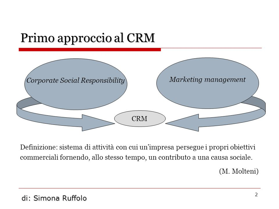 2 Primo approccio al CRM Definizione: sistema di attività con cui unimpresa persegue i propri obiettivi commerciali fornendo, allo stesso tempo, un co
