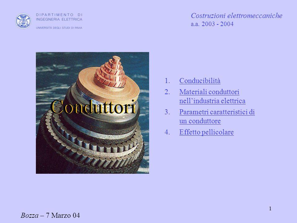 2 Il parametro che caratterizza un materiale nei confronti dei fenomeni di trasporto della corrente elettrica è la conducibilità elettrica [S/m] o il suo inverso resistività elettrica 1 - Conducibilità e resistività elettrica Nella pratica ingegneristica si usano spesso anche altre unità di misura : [ ] = mm 2 /m [ ] = m/ mm 2
