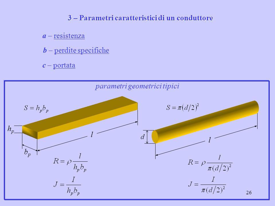 26 a – resistenzaresistenza b – perdite specificheperdite specifiche c – portataportata 3 – Parametri caratteristici di un conduttore bpbp hphp l d l