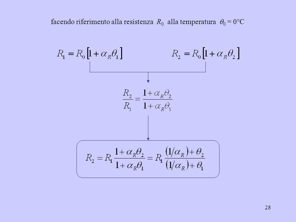 28 facendo riferimento alla resistenza R 0 alla temperatura 0 = 0°C