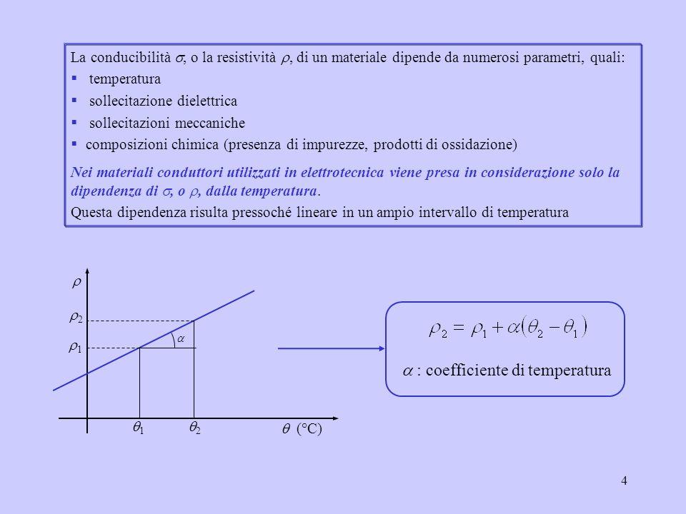 4 La conducibilità, o la resistività, di un materiale dipende da numerosi parametri, quali: temperatura sollecitazione dielettrica sollecitazioni mecc