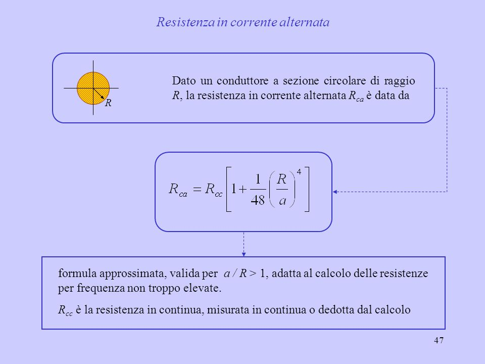 47 Dato un conduttore a sezione circolare di raggio R, la resistenza in corrente alternata R ca è data da R formula approssimata, valida per a / R > 1