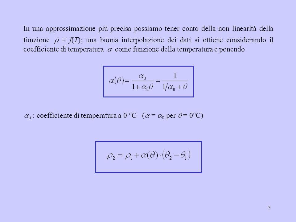 5 In una approssimazione più precisa possiamo tener conto della non linearità della funzione = f(T); una buona interpolazione dei dati si ottiene cons