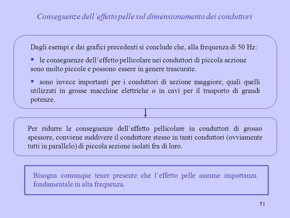 51 Dagli esempi e dai grafici precedenti si conclude che, alla frequenza di 50 Hz: le conseguenze delleffetto pellicolare nei conduttori di piccola se