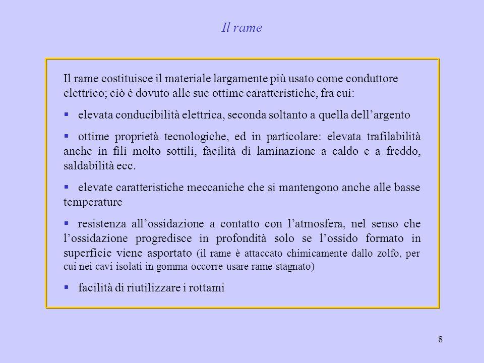 8 Il rame costituisce il materiale largamente più usato come conduttore elettrico; ciò è dovuto alle sue ottime caratteristiche, fra cui: elevata cond