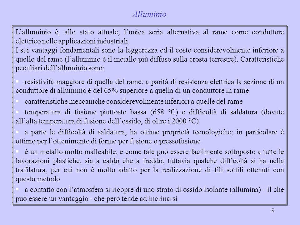 9 Lalluminio è, allo stato attuale, lunica seria alternativa al rame come conduttore elettrico nelle applicazioni industriali. I sui vantaggi fondamen
