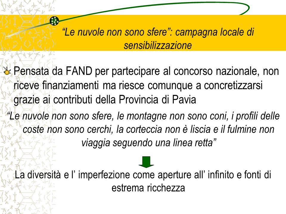 Le nuvole non sono sfere: campagna locale di sensibilizzazione Pensata da FAND per partecipare al concorso nazionale, non riceve finanziamenti ma ries