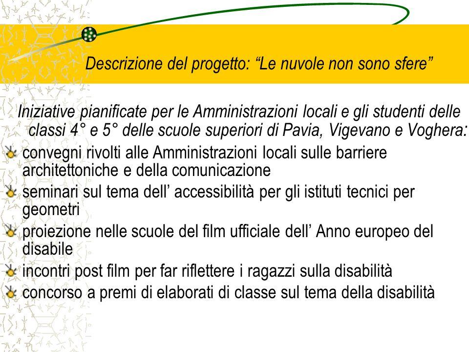 Descrizione del progetto: Le nuvole non sono sfere Iniziative pianificate per le Amministrazioni locali e gli studenti delle classi 4° e 5° delle scuo
