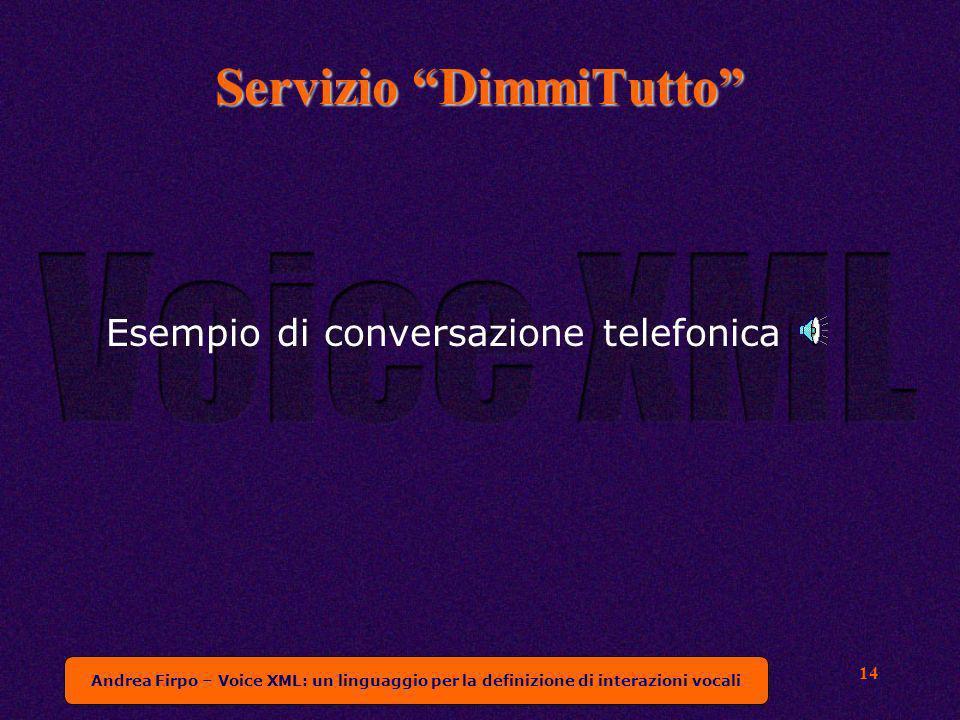 Andrea Firpo – Voice XML: un linguaggio per la definizione di interazioni vocali 14 Servizio DimmiTutto Esempio di conversazione telefonica