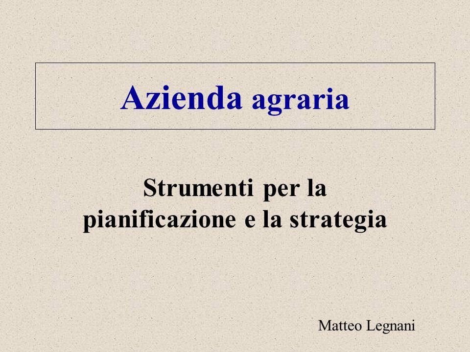 Azienda agraria Strumenti per la pianificazione e la strategia Matteo Legnani