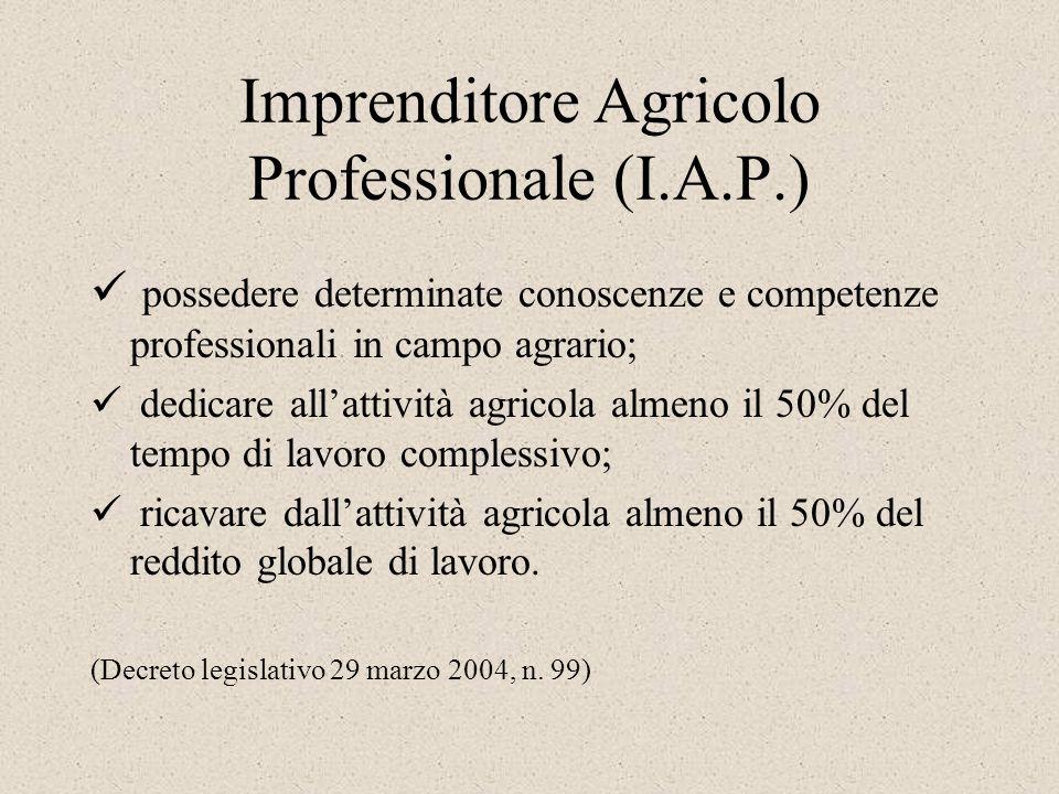 Imprenditore Agricolo Professionale (I.A.P.) possedere determinate conoscenze e competenze professionali in campo agrario; dedicare allattività agrico