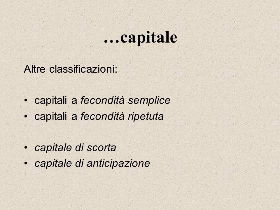 …capitale Altre classificazioni: capitali a fecondità semplice capitali a fecondità ripetuta capitale di scorta capitale di anticipazione