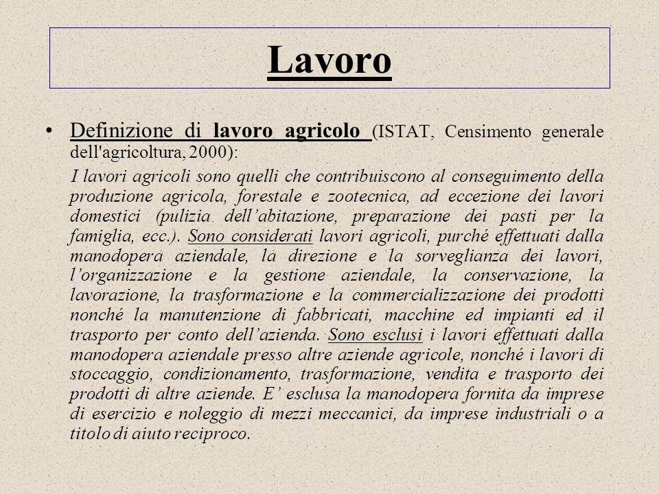 Lavoro Definizione di lavoro agricolo (ISTAT, Censimento generale dell'agricoltura, 2000): I lavori agricoli sono quelli che contribuiscono al consegu