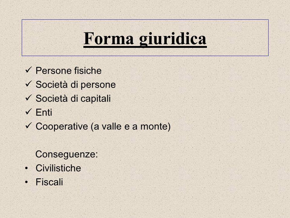 Forma giuridica Persone fisiche Società di persone Società di capitali Enti Cooperative (a valle e a monte) Conseguenze: Civilistiche Fiscali