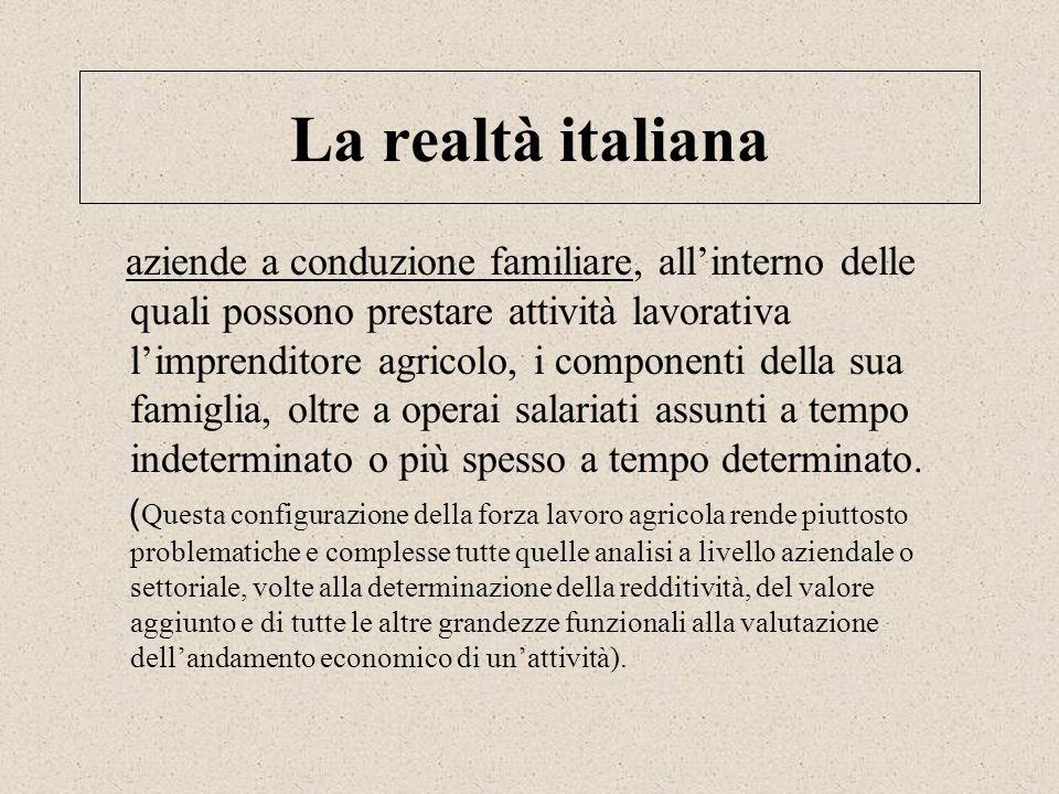 La realtà italiana aziende a conduzione familiare, allinterno delle quali possono prestare attività lavorativa limprenditore agricolo, i componenti de