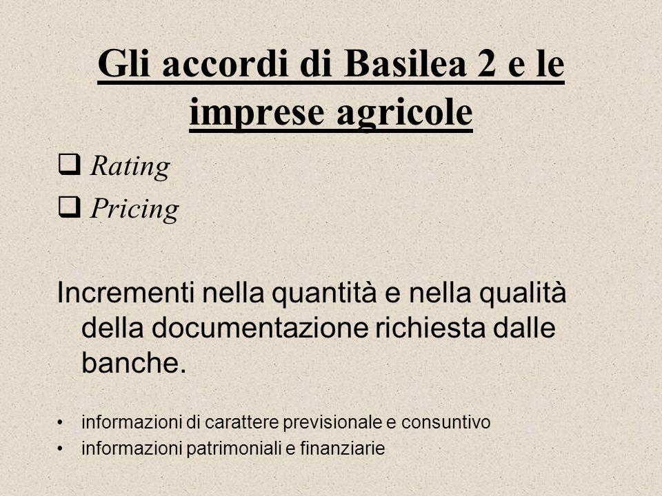 Gli accordi di Basilea 2 e le imprese agricole Rating Pricing Incrementi nella quantità e nella qualità della documentazione richiesta dalle banche. i