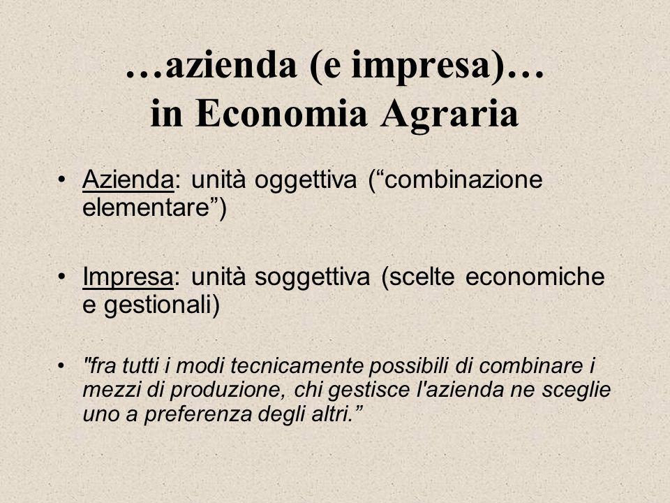 …azienda (e impresa)… in Economia Agraria Azienda: unità oggettiva (combinazione elementare) Impresa: unità soggettiva (scelte economiche e gestionali