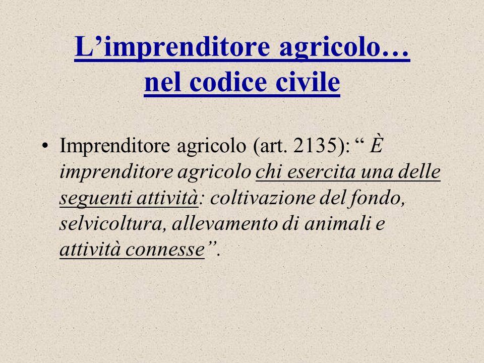 Limprenditore agricolo… nel codice civile Imprenditore agricolo (art. 2135): È imprenditore agricolo chi esercita una delle seguenti attività: coltiva