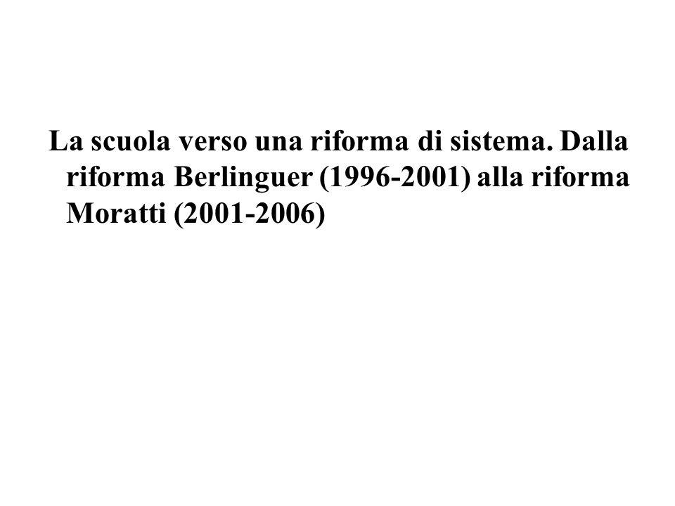La scuola verso una riforma di sistema. Dalla riforma Berlinguer (1996-2001) alla riforma Moratti (2001-2006)