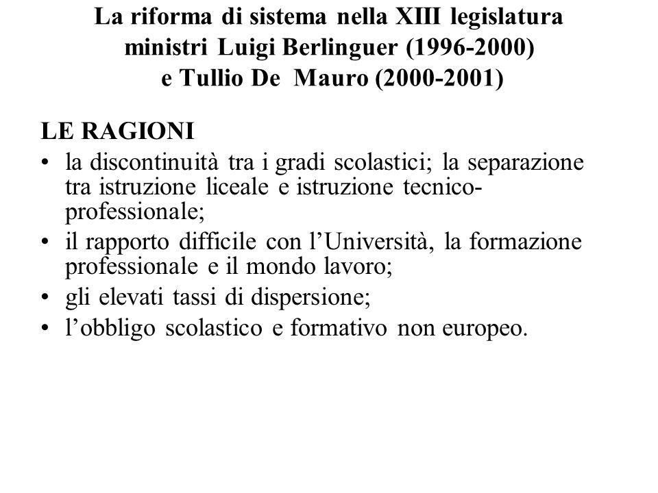 La riforma di sistema nella XIII legislatura ministri Luigi Berlinguer (1996-2000) e Tullio De Mauro (2000-2001) LE RAGIONI la discontinuità tra i gra