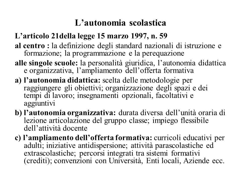 Lautonomia scolastica Larticolo 21della legge 15 marzo 1997, n. 59 al centro : la definizione degli standard nazionali di istruzione e formazione; la