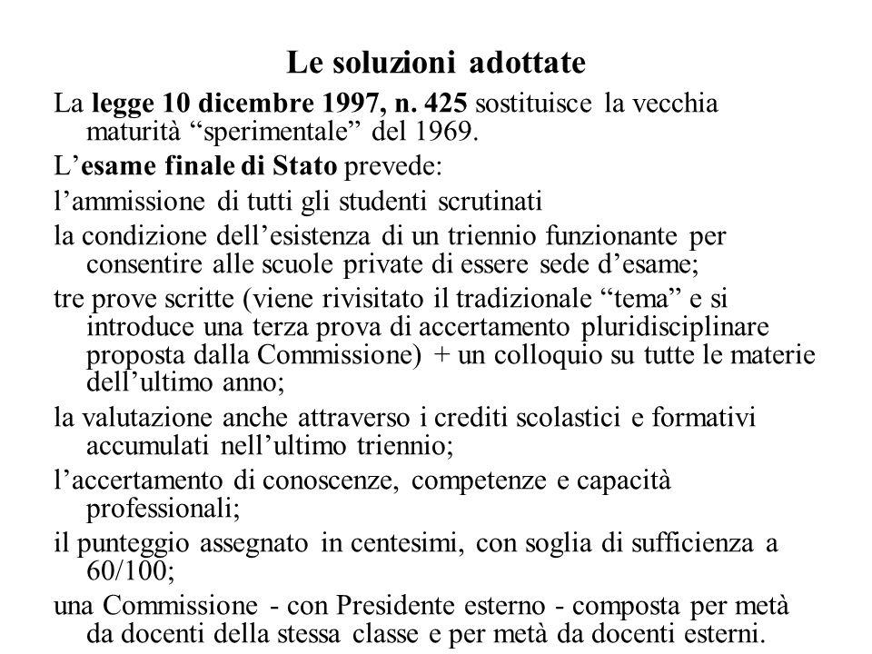 Le soluzioni adottate La legge 10 dicembre 1997, n. 425 sostituisce la vecchia maturità sperimentale del 1969. Lesame finale di Stato prevede: lammiss