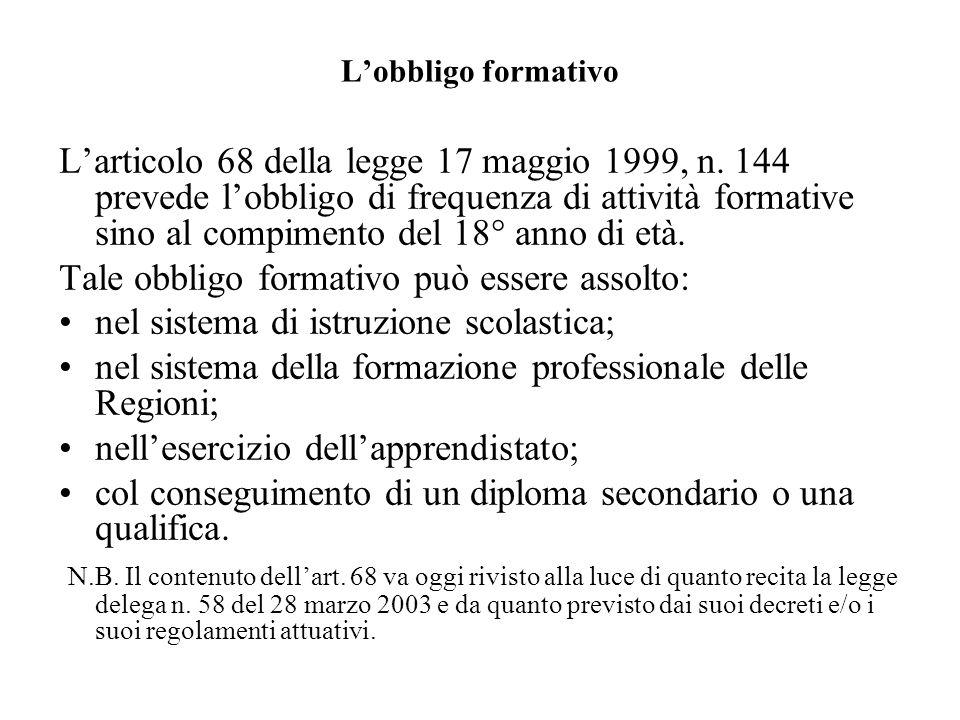 Lobbligo formativo Larticolo 68 della legge 17 maggio 1999, n. 144 prevede lobbligo di frequenza di attività formative sino al compimento del 18° anno