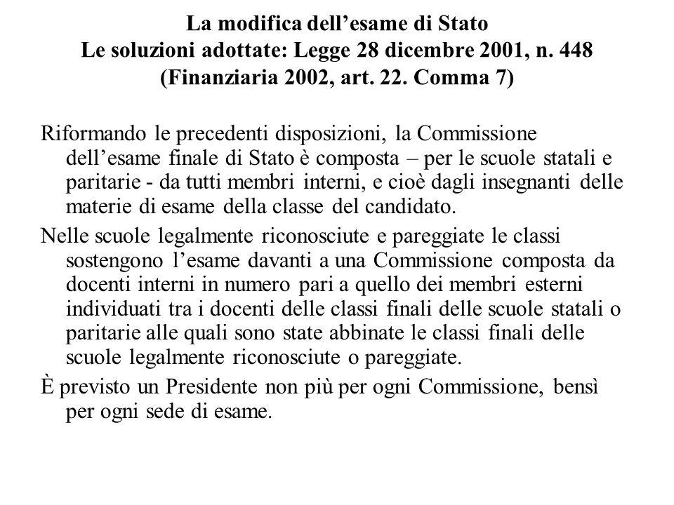 La modifica dellesame di Stato Le soluzioni adottate: Legge 28 dicembre 2001, n. 448 (Finanziaria 2002, art. 22. Comma 7) Riformando le precedenti dis