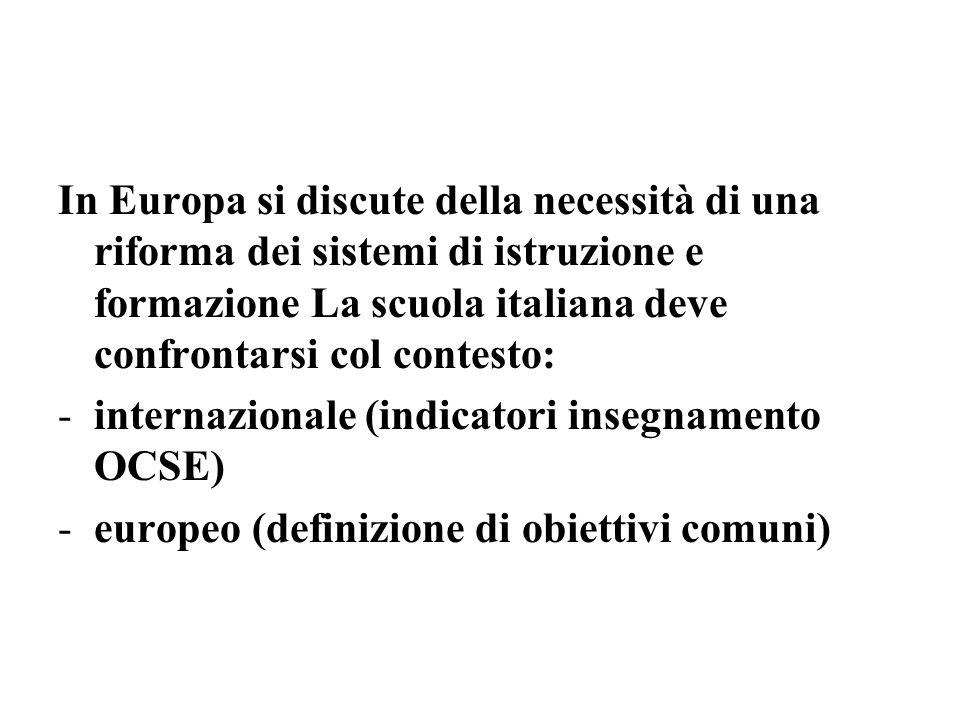 In Europa si discute della necessità di una riforma dei sistemi di istruzione e formazione La scuola italiana deve confrontarsi col contesto: -interna