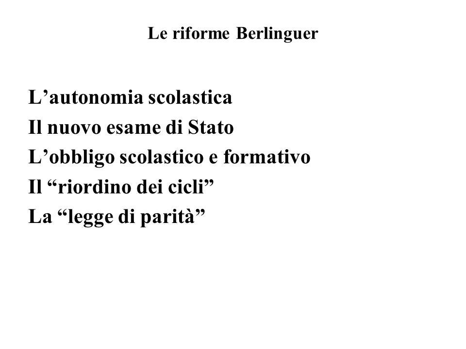 Le riforme Berlinguer Lautonomia scolastica Il nuovo esame di Stato Lobbligo scolastico e formativo Il riordino dei cicli La legge di parità