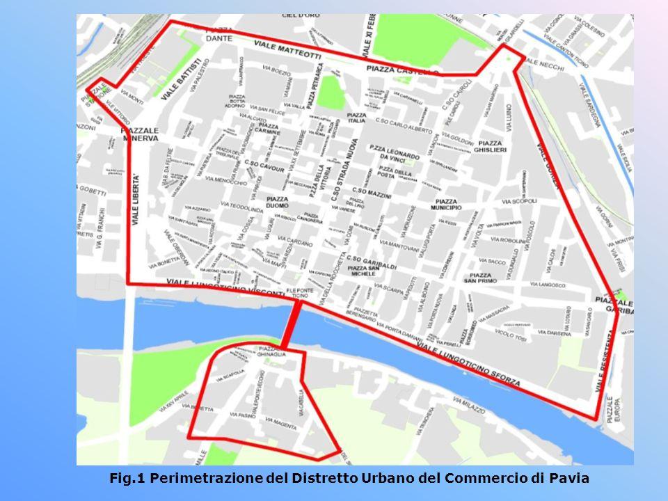 Fig.1 Perimetrazione del Distretto Urbano del Commercio di Pavia