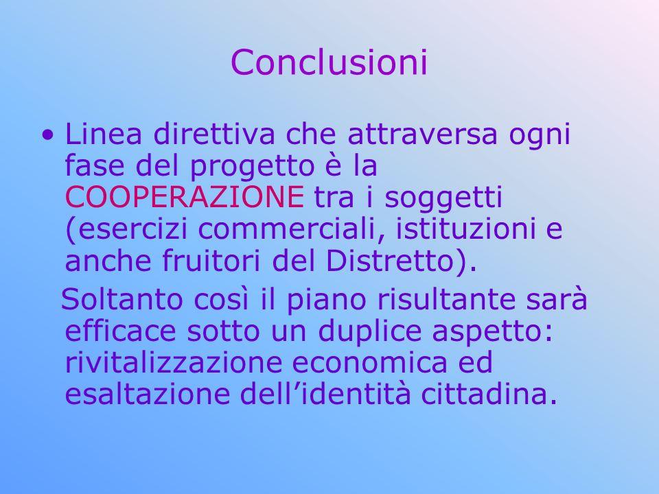 Conclusioni Linea direttiva che attraversa ogni fase del progetto è la COOPERAZIONE tra i soggetti (esercizi commerciali, istituzioni e anche fruitori del Distretto).