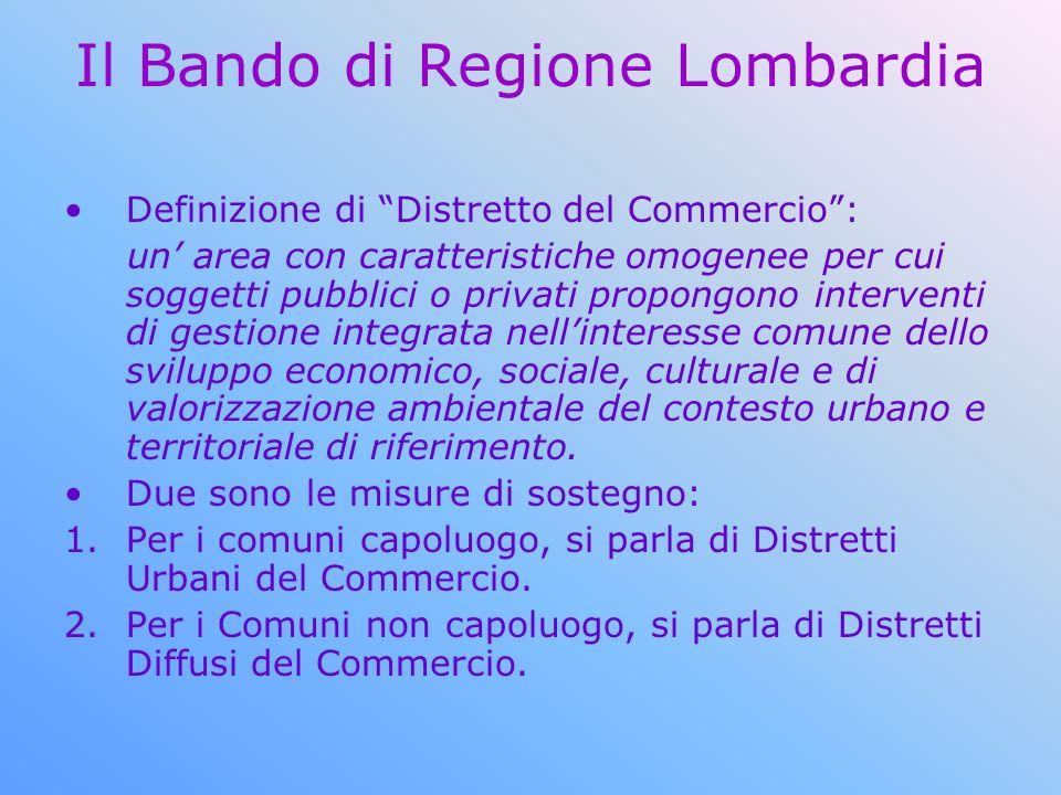 Il Bando di Regione Lombardia Definizione di Distretto del Commercio: un area con caratteristiche omogenee per cui soggetti pubblici o privati propong