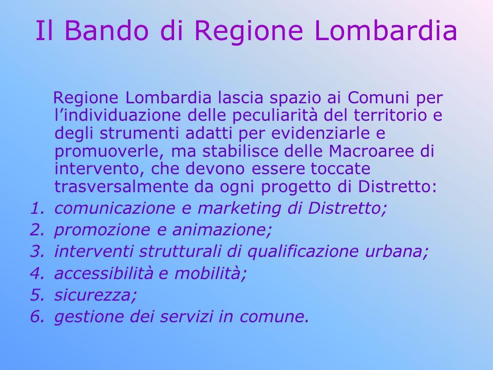 Il Bando di Regione Lombardia Regione Lombardia lascia spazio ai Comuni per lindividuazione delle peculiarità del territorio e degli strumenti adatti
