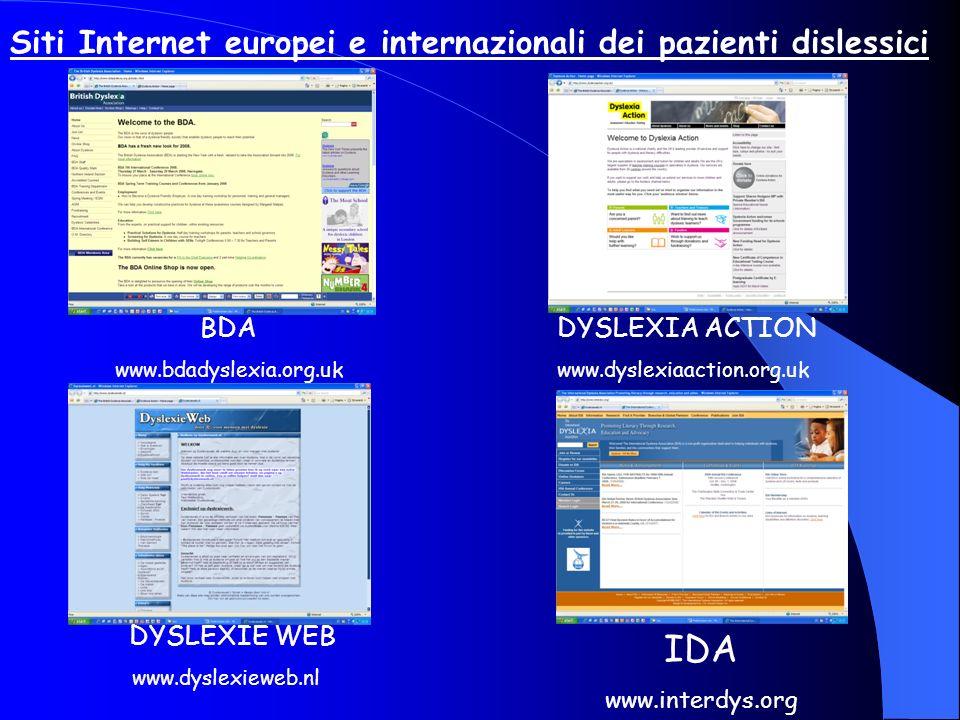 Siti Internet europei e internazionali dei pazienti dislessici BDA www.bdadyslexia.org.uk DYSLEXIA ACTION www.dyslexiaaction.org.uk DYSLEXIE WEB www.d