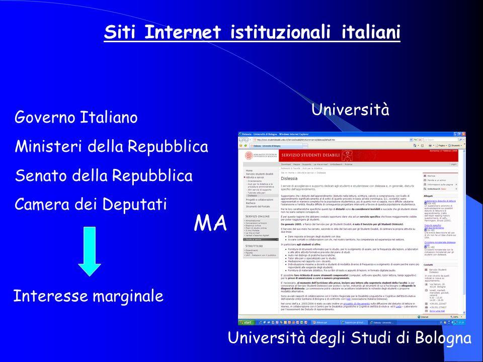 Siti Internet istituzionali italiani Governo Italiano Ministeri della Repubblica Senato della Repubblica Camera dei Deputati Interesse marginale MA Un