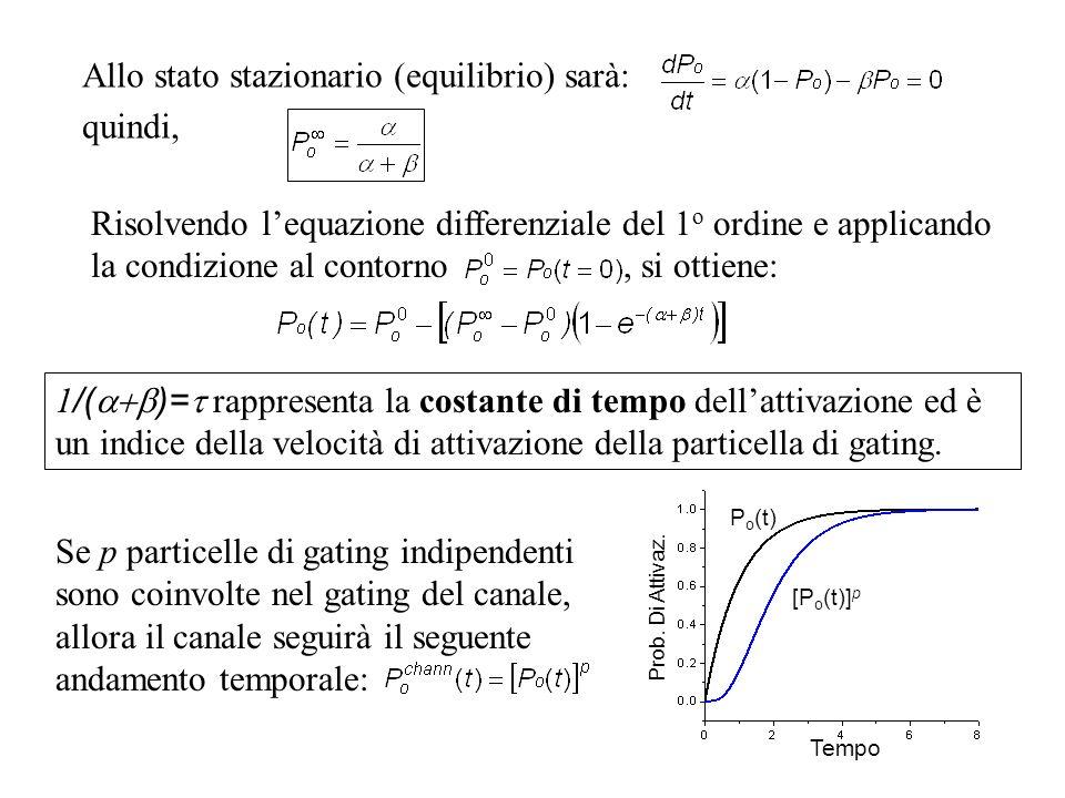 Risolvendo lequazione differenziale del 1 o ordine e applicando la condizione al contorno, si ottiene: Allo stato stazionario (equilibrio) sarà: quind