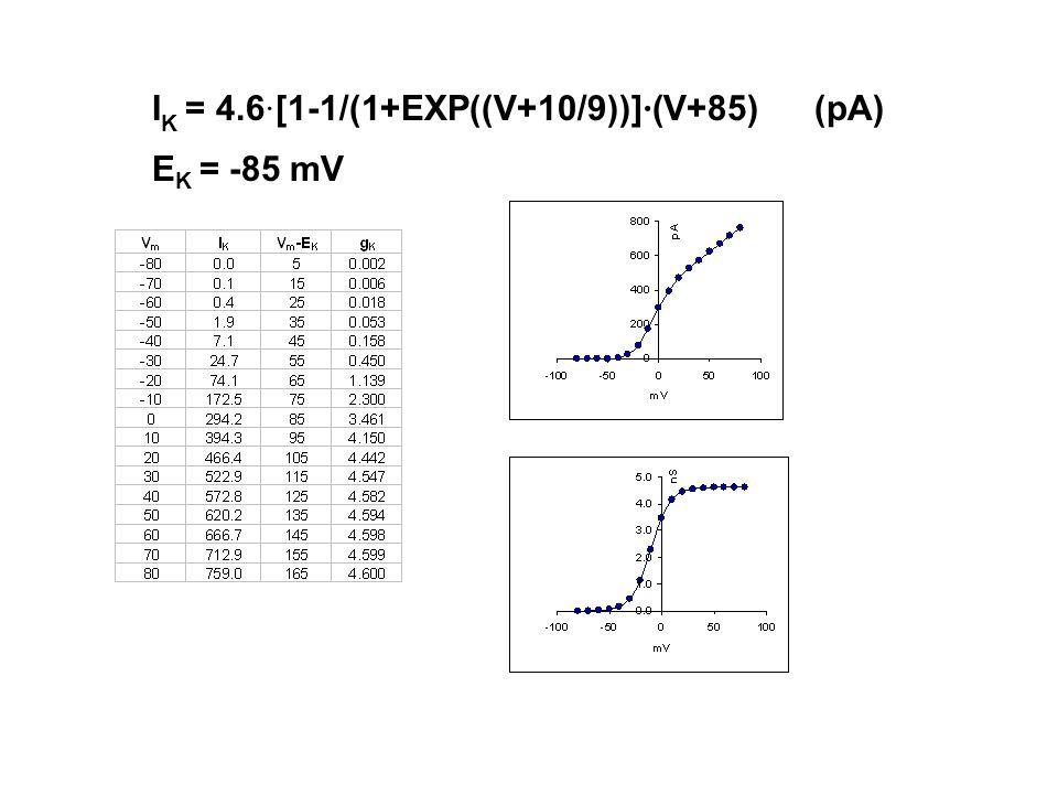 I K = 4.6 · [1-1/(1+EXP((V+10/9))] · (V+85) (pA) E K = -85 mV