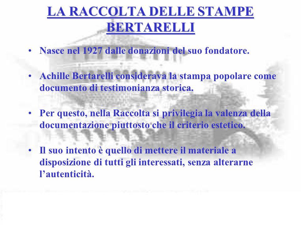 LA RACCOLTA DELLE STAMPE BERTARELLI Nasce nel 1927 dalle donazioni del suo fondatore.