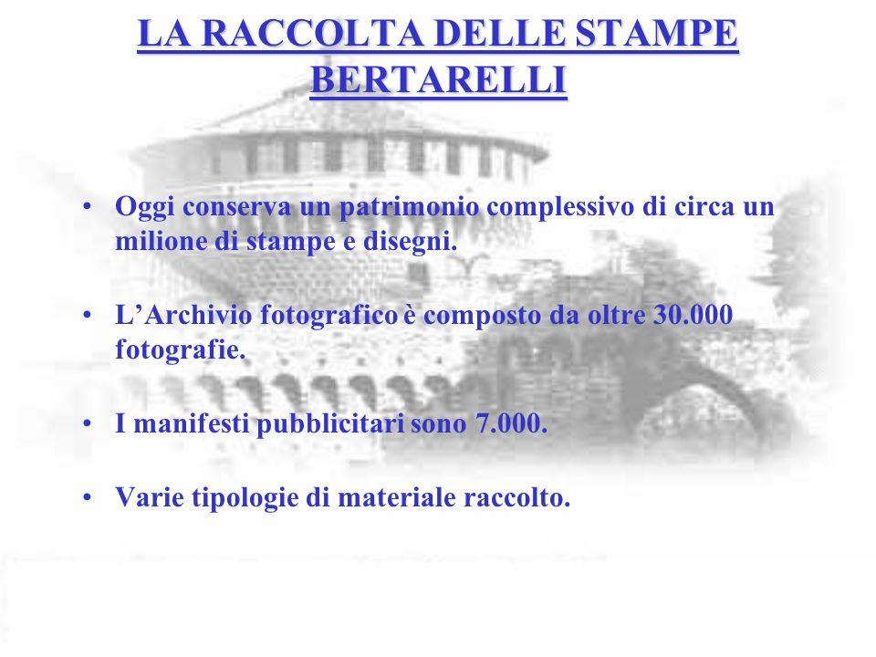 LA RACCOLTA DELLE STAMPE BERTARELLI Oggi conserva un patrimonio complessivo di circa un milione di stampe e disegni.